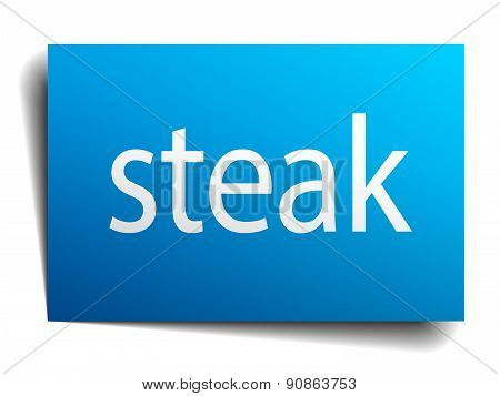 Steak Blue Square Isolated Paper Sign On White