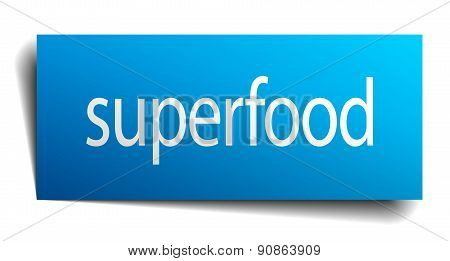 Superfood Blue Paper Sign On White Background
