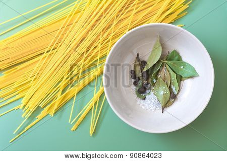 Uncooked pasta and spices