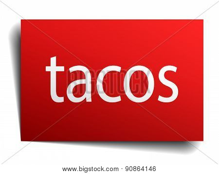 Tacos Red Paper Sign Isolated On White