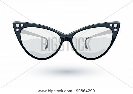 Cat eye black glasses illustration.