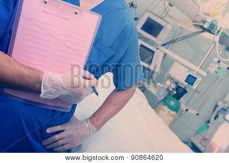 Doctor In Ward Ready To Examining