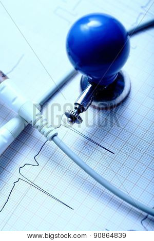 Ecg Chart, Electrode And The Cable On The Desktop Of Doctor