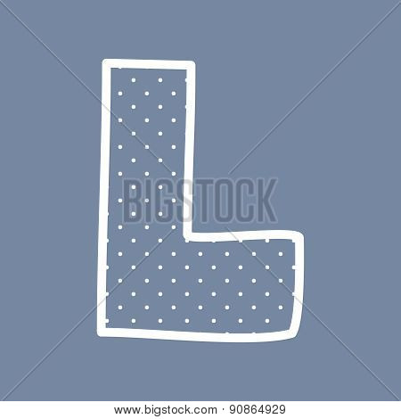 L vector letter with white polka dots on blue background