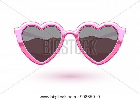 Heart shaped pink metallic sunglasses illustration.