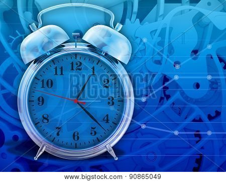 metal chrome alarm clock isolated on abstract background