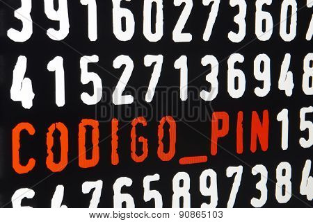 Computer Screen With Codigo Pin  Text On Black Background