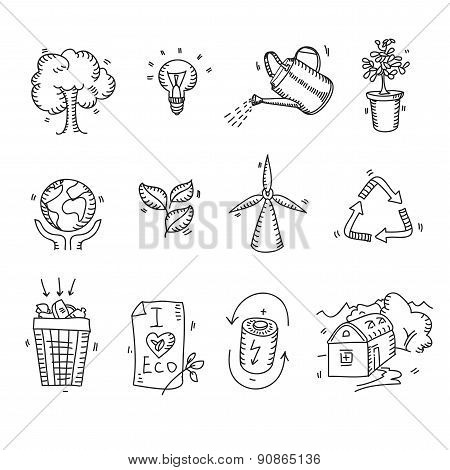 Hand drawn doodle sketch ecology organic icons eco and bio elements nature planet protection care re