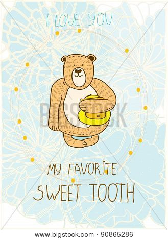 card with a bear with honey on the background blue colors