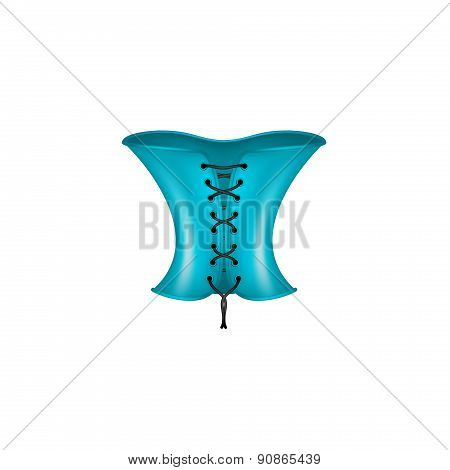 Corset in blue and black design