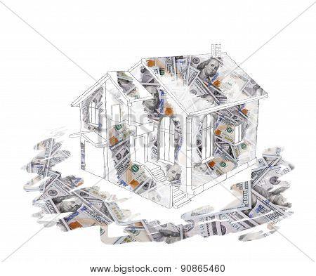 Sketch House Dollar Background