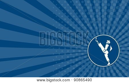 Business Card Taekwondo Fighter Kicking Stance Circle Icon