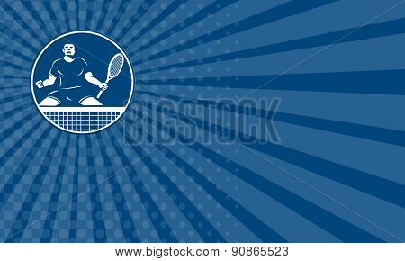 Business Card Tennis Player Racquet Fist Pump Icon