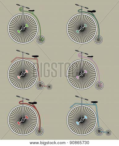 Vintage bikes icons set