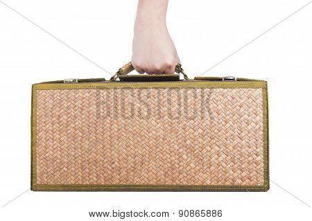 Holding Wooden Luggage Rattan Isolated On Whitel Background.