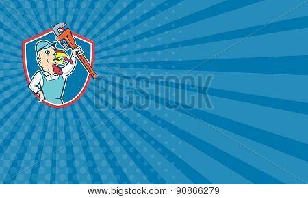 Business Card Turkey Plumber Monkey Wrench Shield Cartoon