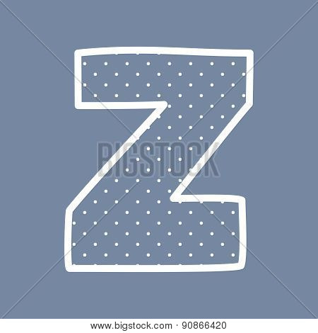 Z vector letter with white polka dots on blue background