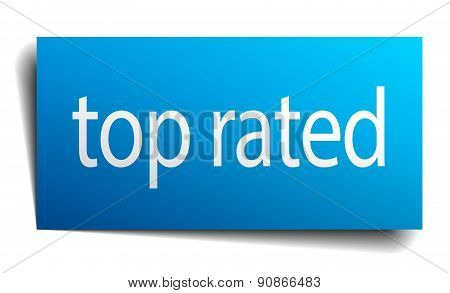 Top Rated Blue Paper Sign Isolated On White