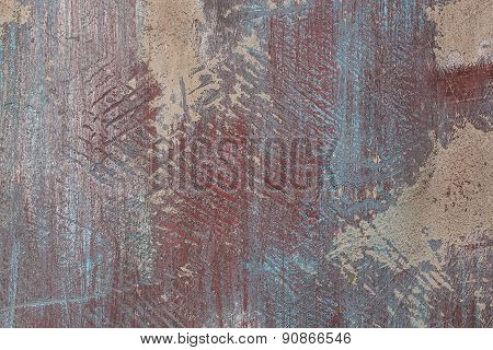 Grunge Red And Blue Painted Cement Wall