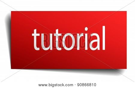 Tutorial Red Paper Sign On White Background