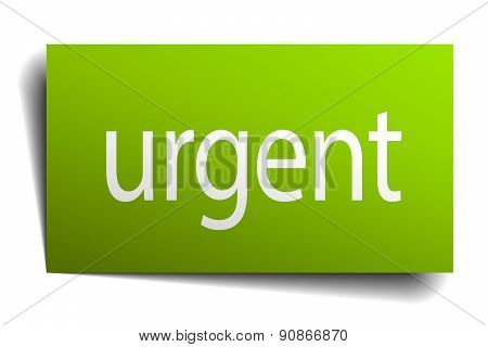 Urgent Square Paper Sign Isolated On White