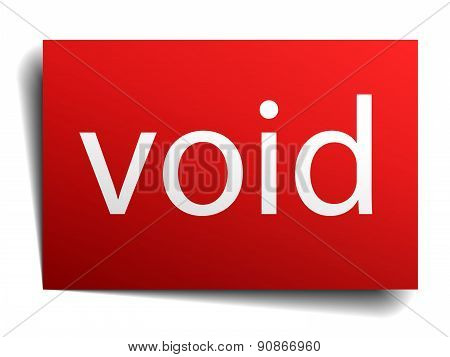 Void Red Paper Sign On White Background