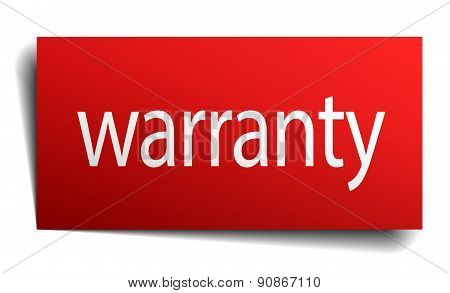 Warranty Red Square Isolated Paper Sign On White
