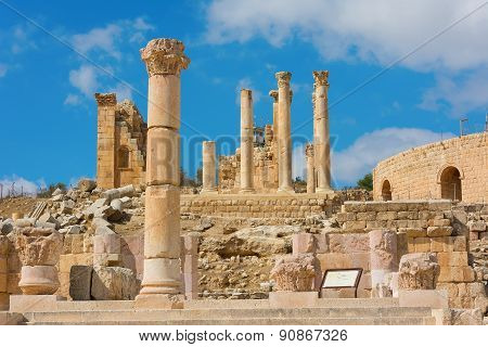 Ancient Jerash Jordan With Temple Of Zeus