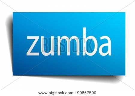 Zumba Blue Paper Sign Isolated On White