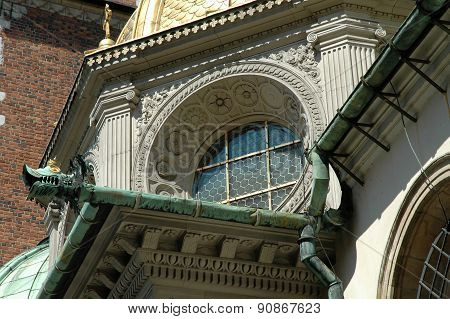 Architectural Details On Wawel Cathedral In Krakow, Poland