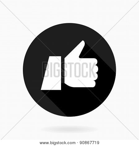 Thumb Up  Flat Icon with Shadow