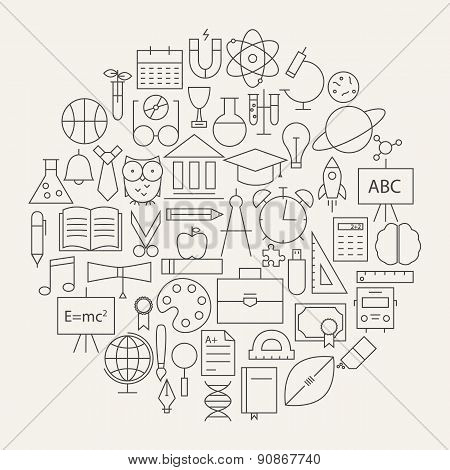 School And Education Line Science Icons Set Circular Shaped