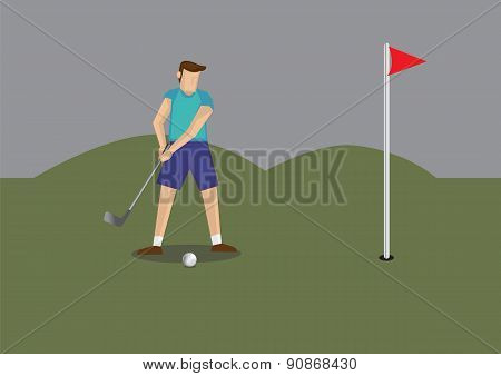 Man Play Golf Vector Illustration