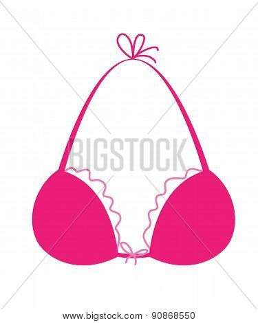 Pink bra icon - simle style drawing.