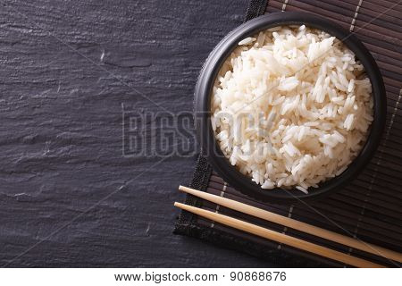 Japanese Food: Rice In A Black Bowl Horiozntal Top View