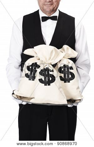 butler with money bags on tray isolated on a white background