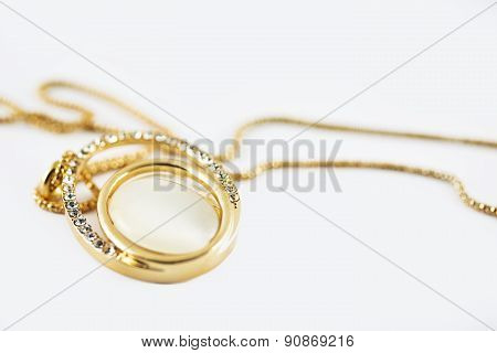 Necklace Diamond Gold Isolated On White Background.