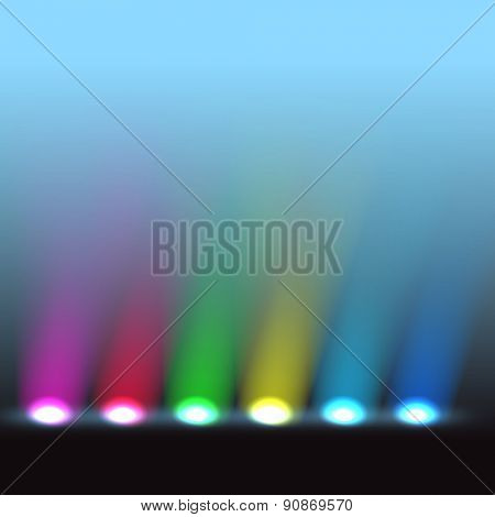 Illuminated stage with different colors lights. Raster version