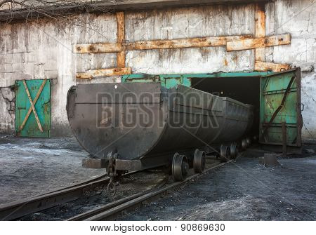 Empty Trolley On Mine Yard. Ukraine, Uglegorsk