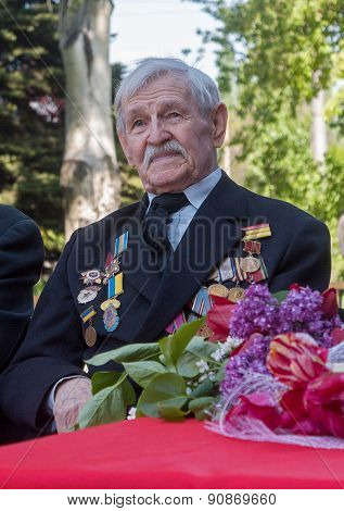 Makeevka, Ukraine - May, 7, 2014: Veteran Of World War Ii During The Celebration Of The Anniversary