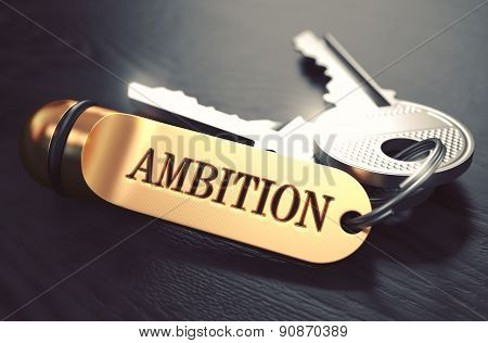 Ambition Concept. Keys with Golden Keyring.
