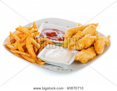 Fryed Potato Chips With Chicken Breast