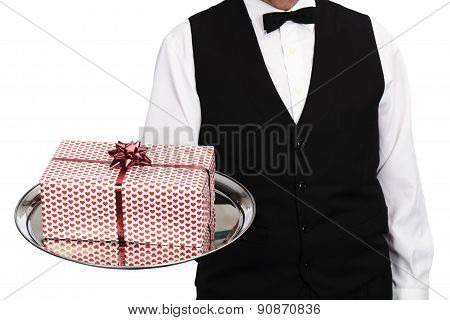 butler with gift