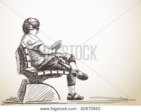 Sketch of woman reading a book Hand drawn illustration
