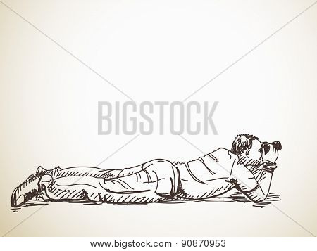 Laying photographer with photo camera, Hand drawn Vector illustration