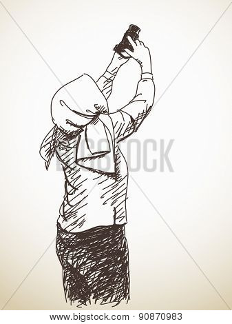Sketch of Woman in scarf taking photo with photo camera, Hand drawn illustration