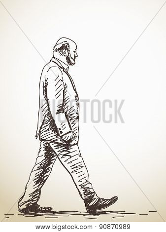 Sketch of walking old Man Hand drawn illustration