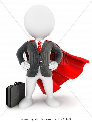 3d white people businessman superhero