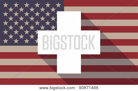 Usa Flag Icon With A Pharmacy Sign