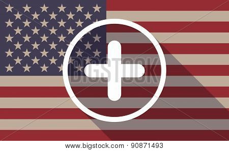 Usa Flag Icon With A Sum Sign